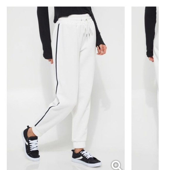 ba04b13315 White with black stripe joggers track pants